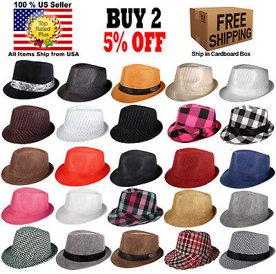 Women Men Fedora Hat Trilby Cuban Upturn Short Brim Hat Panama SIZE SMALL  MEDIUM b491c62e3cb
