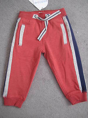 M&S Pair Of Joggers In Dark Red With Blue And Grey - Age 12-18M - Bnwt