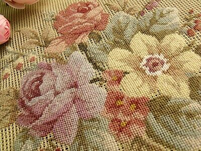 """Vtg 23"""" PREWORKED Needlepoint Canvas 100% PETIT POINT- Aubussion Style Mute Rose"""