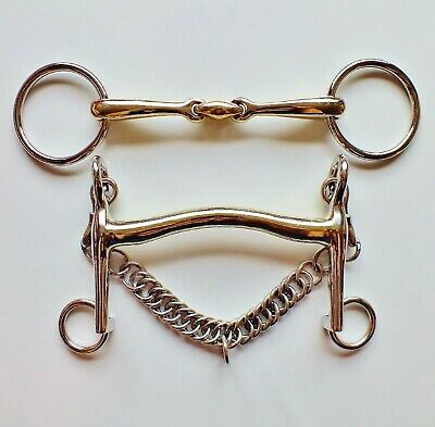 Argentan Double Bridle Set Weymouth + Bradoon 16mm & 14mm All Sizes Short Shank