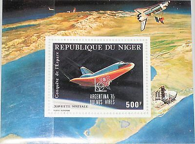 NIGER 1985 Block 46 S/S C356 Exhb. ARGENTINA BUENOS AIRES Space Shuttle MNH