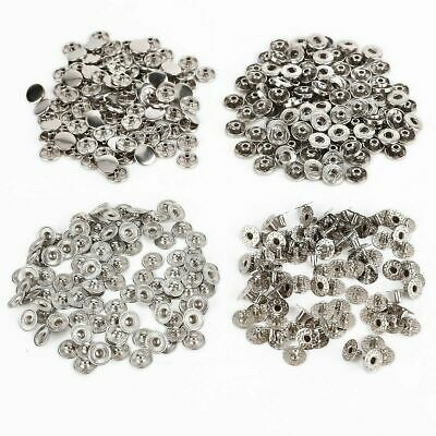 10, 50 or 100 X 15mm SILVER PRESS STUDS - S-SPRING POPPER PRESS SNAP FASTENERS