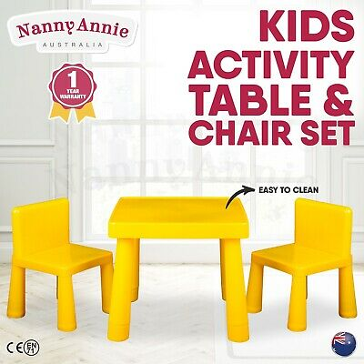 Kids Table & Chair Play Furniture Set Plastic Activity Dining Chairs YELLOW