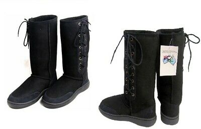 Black Ultra Tall Sheepskin Boots Moulded Sole Laceup Wool Boot Aust Sheep Skin
