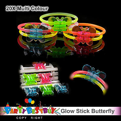 20X Multi Colour Glow Sticks Butterfly Bracelets Connectors Glowsticks Party Fun