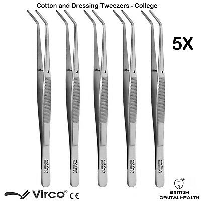 5 X Cotton Dressing Plier College Mouth Tweezer Serrated Tip Dental Surgery CE