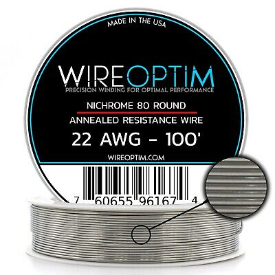 Nichrome 22 Gauge AWG Wire 100ft Roll .64mm , 1.0363 Ohms/ft Resistance