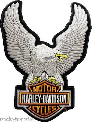 "Harley-Davidson SILVER Up-wing Eagle Patch 10 1/2 x 7 3/4 "" LG EMB328064"
