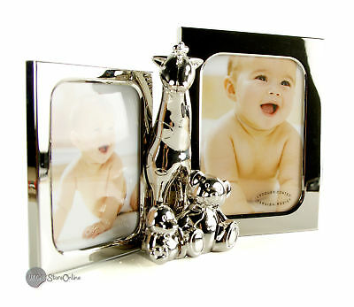 Baby Silverplated Double Frame with Giraffe & 2 Teddies Gift FS918