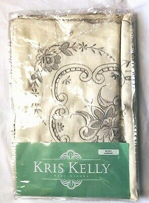 VTG KRIS KELLY FINE LINEN Hand Embroidered &Cutwork Tablecloth W/12-Napkins NEW