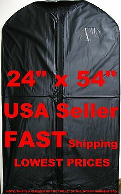 NEW 24x54 QUALITY Black GARMENT BAG 3-Mil Vinyl Full Length Zipper Clear Window