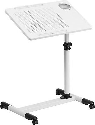 Mobile Adjustable Laptop Stand in White Finish - School Lectern, Church Lectern