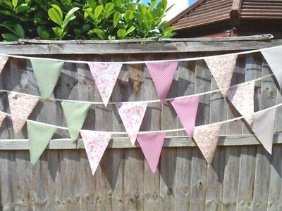 Shabby Chic Fabric Bunting Country Vintage Wedding Rustic Bunting 100% Gorgeous!