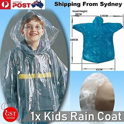1x Disposable Emergency Poncho Rain Coat Kids Raincoat Ponchos Child Travel