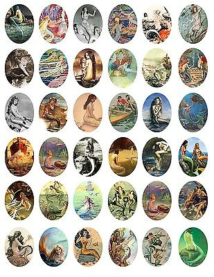 Vintage Victorian Mermaid, Precut 36 Oval images  30X40mm