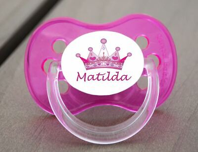 Personalised Dummy Pacifier Soother,  All Teats, Sizes & Colours, Pink Crown 1