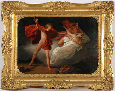 "Vincenzo Marinelli (1819-1892) ""Orpheus and Eurydice (after M.-M. Drolling)"",oil"