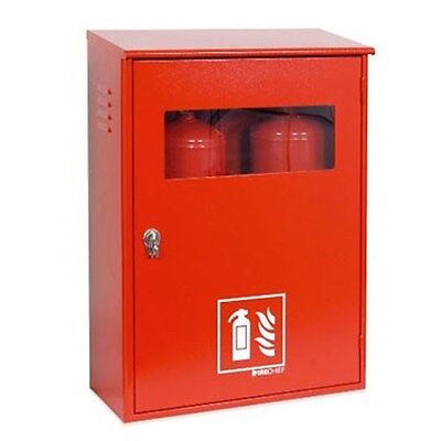New Double Metal Fire Extinguisher Cabinet With Key Lock & Key Box - 9Kg / 9L