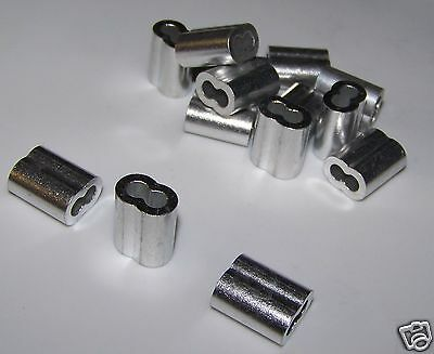 "1/8"" Aluminum Cable Crimps/Sleeves (LOT OF 50) NEW"