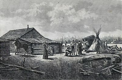 Antique print canadian house Animal trapper Canada