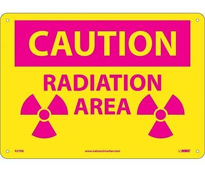"NMC R27AB Safety Sign ""CAUTION RADIATION AREA"" 10"" X 14"" Aluminum"