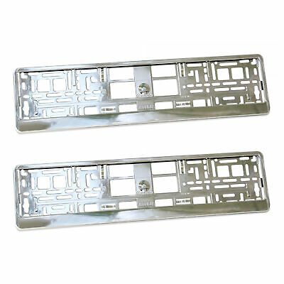"2 x ""SUPER CHROME"" EFFECT NUMBER PLATE HOLDER SURROUND CAR"