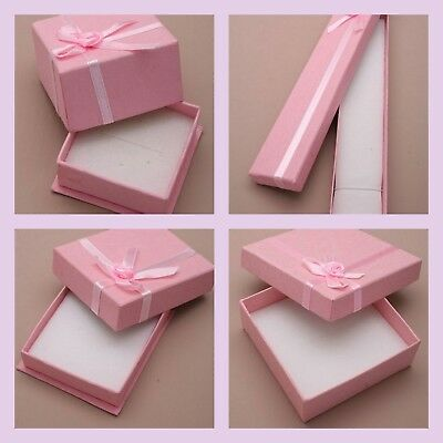 Pink Jewellery Gift Box Ribbon Bow For Ring Necklace Bracelet Earrings 4 Sizes