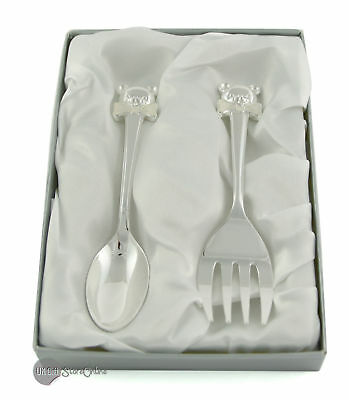 Cute Teddy Handle Silver Plated Spoon And Fork Set For Baby Christening Cg389