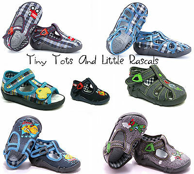 Boys Canvas Shoes Nursery Slippers Leather Antibacterial Insole Size 3 - 9 New