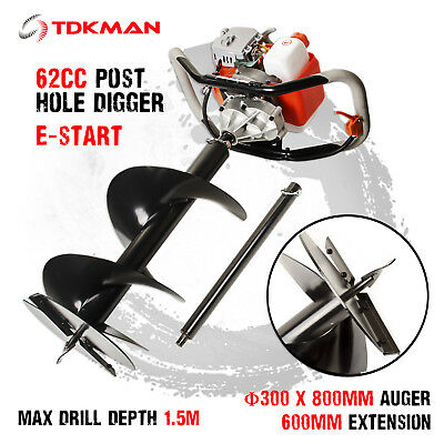 New TDKMAN 62cc Petrol Post Hole Digger Earth Auger 300mm Drill Fence Borer Bits