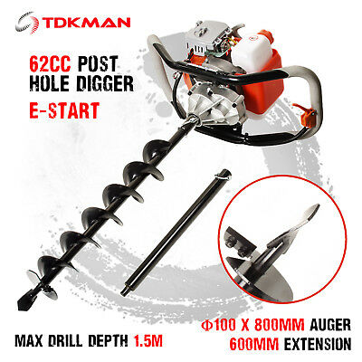 New TDKMAN 62cc Petrol Post Hole Digger Earth Auger 100mm Drill Fence Borer Bits