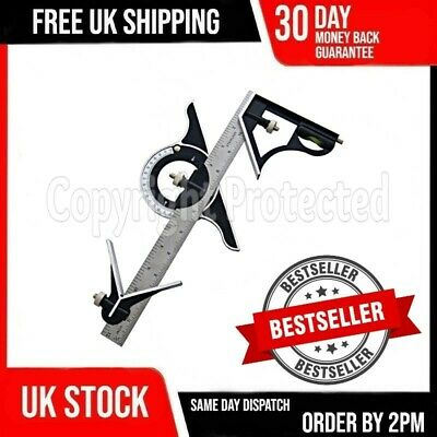 "12"" Heavy Duty Metal Adjustable Combination Set Square Protractor Ruler Level"
