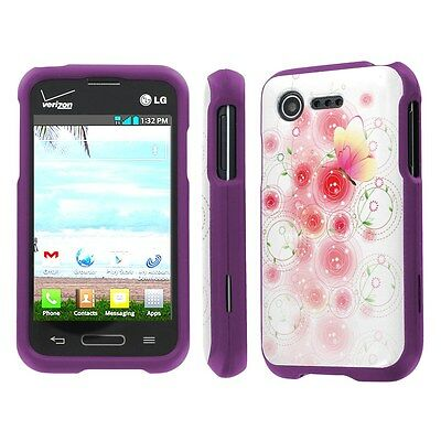 LG Optimus Fuel / Zone 2 Purple Slim Hard Cover Case - Fuzzy Daisy