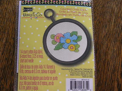 2013 Studio 18 Mary & Co. FLOWERS Counted Cross Stitch Kit w/ Hoop Frame~~NIP!!