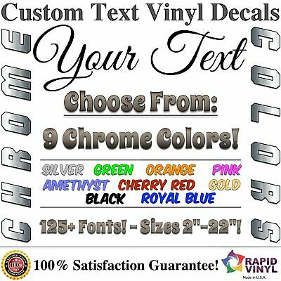 Chrome Custom Vinyl Lettering Text Decal Car Truck Boat RV Trailer Garage Home