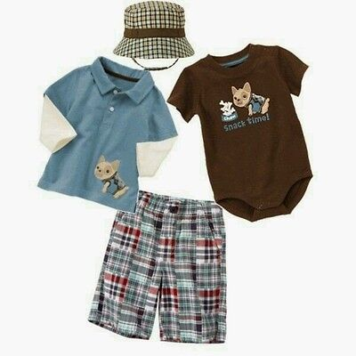 Gymboree Family Brunch Polo,Shorts /& Driving Hat Set 0 3 6 12 NWT Retail $56.90