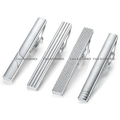 Mens Boys Plain Silver Chrome Stainless Steel Standard Tie Clip Clasp Bars Pins