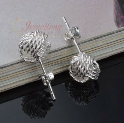 9mm | Silver Plated Weave Ball Knot Stud Earrings E188
