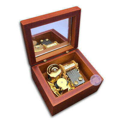 Brown Wooden Wind up Music Boxes With Sankyo Musical Movement (48 Tunes Option)