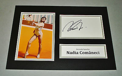 Nadia Comaneci Signed A4 Photo Display Olympic Gymnastics 1976 Autograph + COA