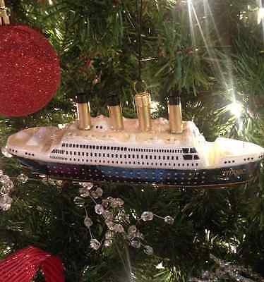 RMS Titanic Collectable Ship Christmas Ornament hand painted
