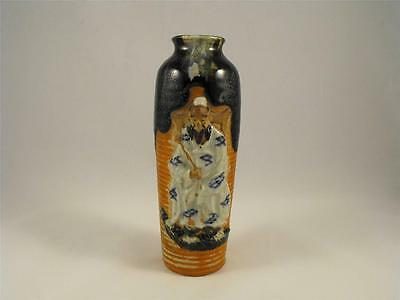 Antique Japanese Pottery Sumida Gawa Vase Blue & White Robe Unsigned