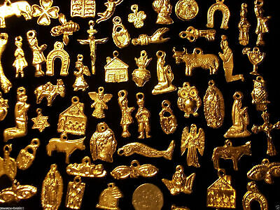 100 GOLD Mexican Folk Art Milagros Charms Exvoto Nicho Retablo Charms Lot