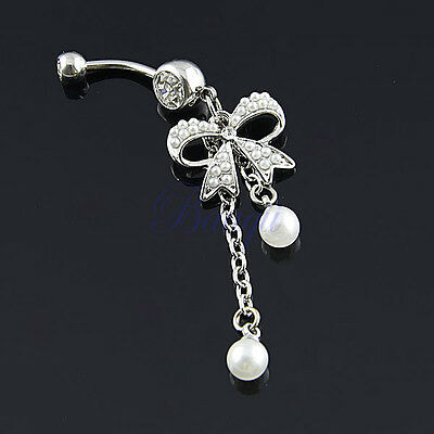 Piercing nombril perle noeud strass blanc KK
