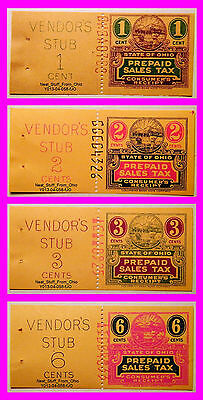 Ohio Prepaid Sales Tax Receipt, Four-Stamp Grab Bag! 1, 2, 3 & 6¢. Prior To 1962