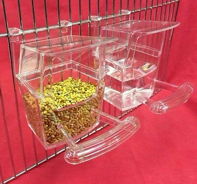 Bird Cup 2 X Cage Clip On Water Food Bowl Countainer 2 Hook Cup Budgie Canary