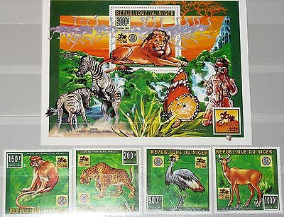 NIGER 1996 1181-84 Block 85 887-91 Animals Boy Scouts Rotary Lion Leopard MNH