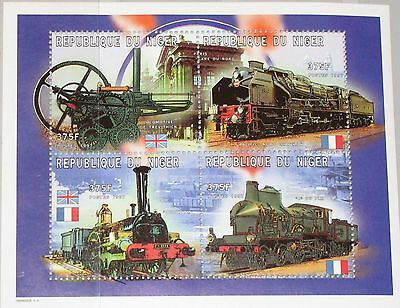 NIGER 1997 Klb 1298-01 MS 956 Locomotives Lokomotiven Eisenbahn Railroad MNH