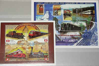 NIGER 1997 Klb 1343-46 Block 105 957 961 Trains of Switzerland Züge Lokomotiven