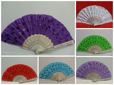 Fashion New Style Embroidered Fabric Folding Hand Held Fan Sequins Party Bridals